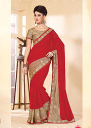 Designer Net Embroidery Sarees