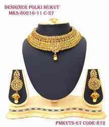 Designer Mukut Polki Necklace Set With Tika