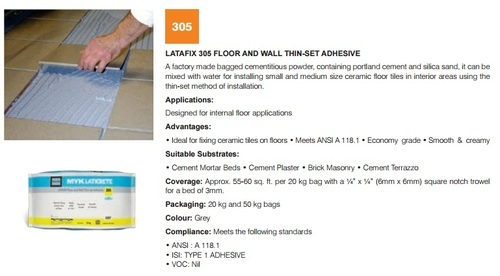 Floor & Wall Thinset Adhesive 305 (Grey)