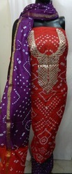 Ladies Bandhej Art Silk Suit