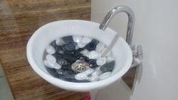 Prayosha Oval White Pearl Ring Resin Washbasin