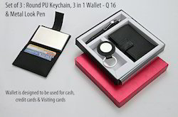 3 in 1 Set (Wallet, Round PU Keychain & Metal Look Pen)