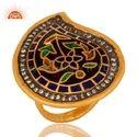 Gold Kundan Meena Polki Designer Ring