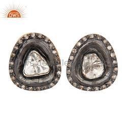 Rose Cut Diamond Gold Studs Earring