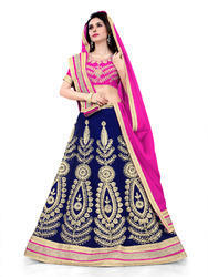 Blue Georgette Heavy Embroidered Lehenga