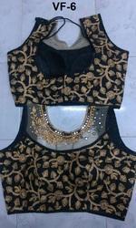Black Embroidered Banglori Silk Stitched Blouse