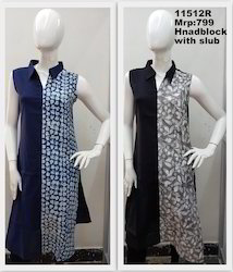 Handblock Kurta With Collar