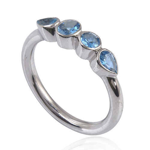Silver 925 Aquamarine Gemstone Ring