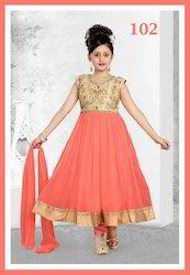 Orange Gold Kids Girls Ethnic Suits