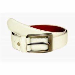 Mens White Leather Belt