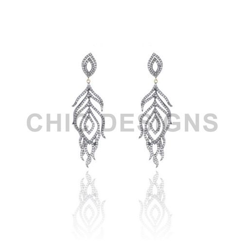 Diamond Pave Peacock Wings Earrings
