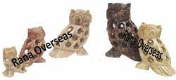 Soapstone Undercut Decorative Owl Set