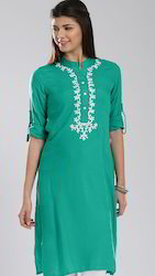 White Zari Embroidered Long Kurta