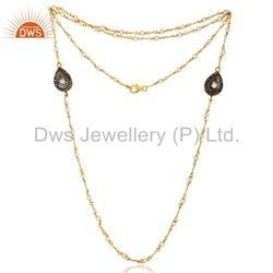 Gold Plated Silver Diamond Necklace