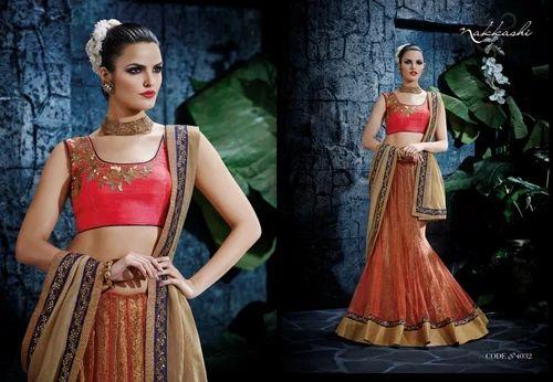 Red and Grey Designer Lengha Choli