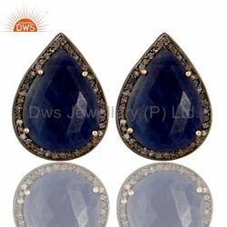 Pave Diamond Silver Studs Earrings
