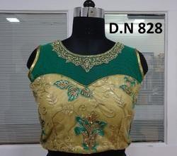 Golden & Green Net Embellished Stitched Blouse