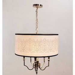 White Art Drum Shade Hanging Light