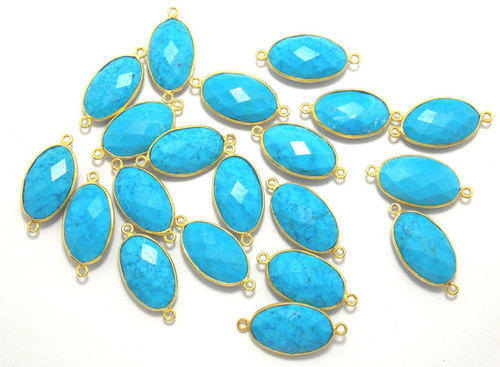 Turquoise Oval Shape Gemstone Connectors