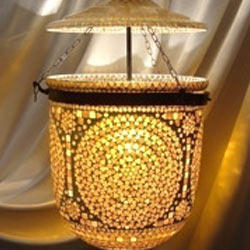 Mosaic Work Bell Jar Hanging Lamps
