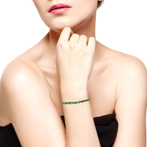 Emerald Baguette Setting 18k Gold Bangle