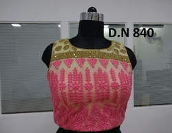 Pink Net Heavy Embroidered Stitched Blouse
