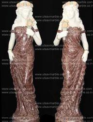 Karara White & Coco Brown Marble Lady Statue