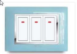 Aqua Cherry Plate Metallic Electrical Switch
