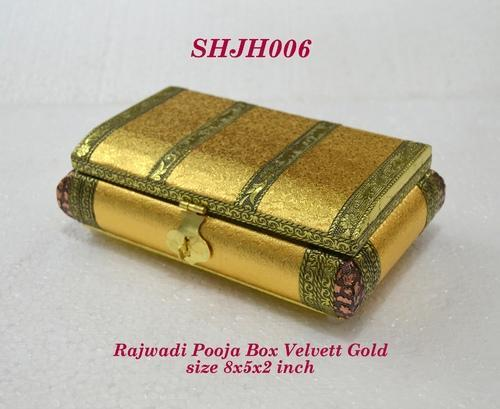 Rajwadi Pooja Box Velvet Gold