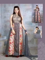 Fashionable Floral Designer Gown