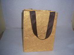 Metallic Embossed Handmade Paper Bags With Ribbon Handles