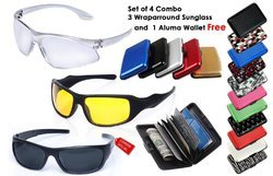 hd night vision combo set of 3 sunglasses and aluma wallet