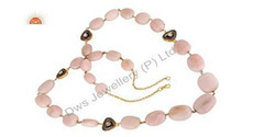 Pink Opal Rose Cut Diamond Necklace