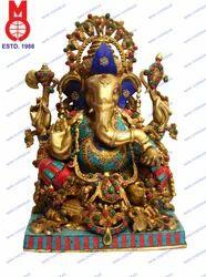 Ganesh Sitting Decorative In Stone Work