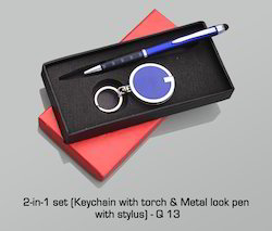 2 -in -1 Set (Keychain with Torch & Metal Look Pen with Sty)
