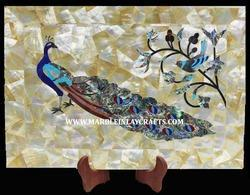 Marble Inlay Peacock Design Wall Panel