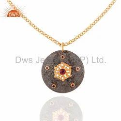 Jaipur Silver Natural Gemstone Chain Pendant