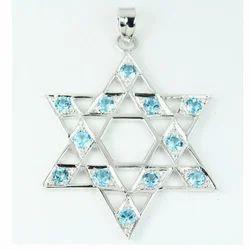 Silver Star Pendant Rhodium Polish Blue Topaz Stone