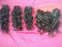 Frontal With Machine Weft Human Hair