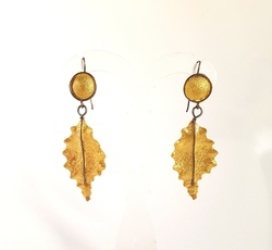 Silver Gold And Black Plated Textured Leaf Hanging Earring