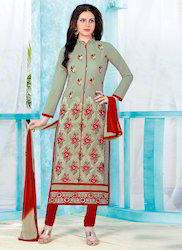 Designer Red Embroidered Churidar Suit
