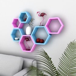 Hexagon Set Of 3 Wall Shelves (In Single Color)