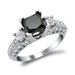 Cut Black Stone Diamond Ring