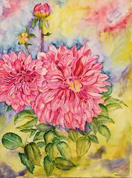 two dahlias painting