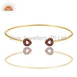 Pink Sapphire Gemstone Cuff Bracelet