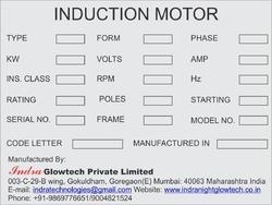 Electric Motor Labels