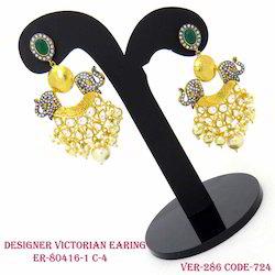 Designer Pear Victorian Earrings