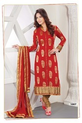 Red Faux Georgette Churidar Kameez