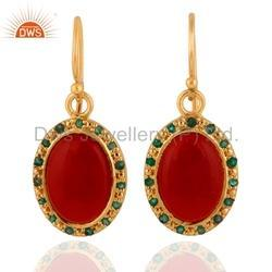 925 Silver Gold Plated Gemstone Earrings