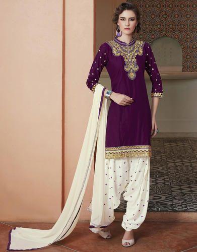 Unstitched Party Wear Patiala Suits